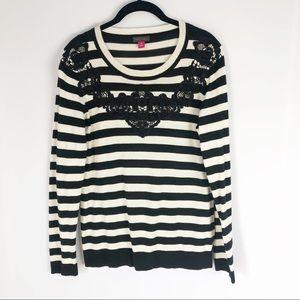 Vince Camuto Black & White Striped Sweater